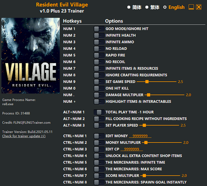 Трейнер для Resident Evil: Village (+23 функции) Trainer (1.0) FLiNG