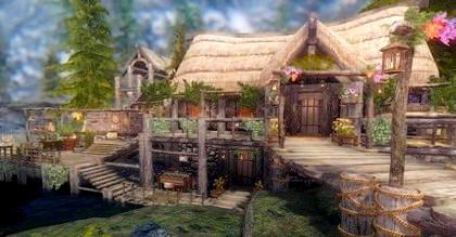 Красивый дом на берегу реки Skyrim