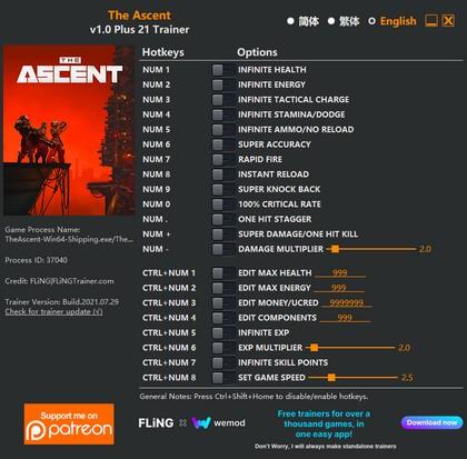 Трейнер для The Ascent (+21 функция) Trainer (1.0) FLiNG